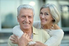 Happy nice mature couple walking Royalty Free Stock Images