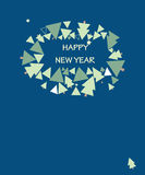 Happy night card. New Year's dark blue card with indexes from a fur-tree Stock Photos