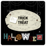 Happy night party. Happy Halloween cover design.The phrases welcome to trick or treat happy night party,31st october and halloween  on the black background Royalty Free Stock Image