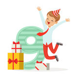 Happy nine year old boy celebrating his birthday, colorful cartoon character vector Illustration. Isolated on a white background Stock Photo