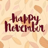 Happy november, calligraphic vector inscription royalty free stock photos
