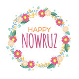Happy Nowruz greeting card with flowers and leaves. Iranian, Persian New Year. March equinox. Colorful floral wreath. Royalty Free Stock Images