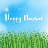 Happy Nowruz greeting card. Iranian, Persian New Year. March equinox. Green grass field. Blue sky with clouds. Happy Nowruz greeting card. Iranian, Persian New royalty free illustration