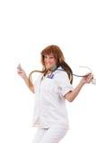 Happy nurse holding stethoscope and syringe jumping stock photos