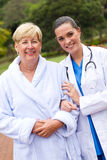Happy nurse and senior patient Royalty Free Stock Image