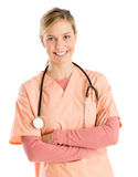 Happy Nurse With Stethoscope Standing Arms Crossed Royalty Free Stock Photography