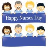 Happy Nurses Day Isolated. Illustration of multi-ethnic nurses holding sign Royalty Free Stock Photography