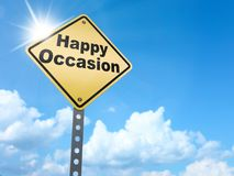 Happy occasion sign. On blue sky background,3d rendered royalty free illustration