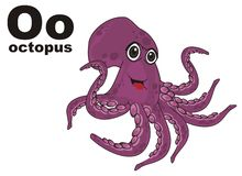 Happy octopus and abc. Smiling purple octopus with his name and letters o stock illustration