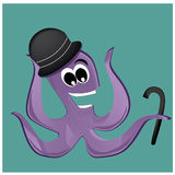 Happy octopus with hat Royalty Free Stock Image