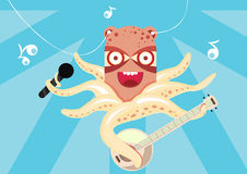 Happy octopus playing banjo in the sea Stock Image