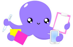 Happy Octopus at work Royalty Free Stock Images