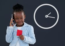 Happy office kid girl talking on the phone with clock icon against blue background Stock Photo