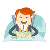 Happy office man hipster sitting at the table and hugging money Stock Image
