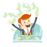 Happy office man hipster sitting at the table and throwing money Royalty Free Stock Photo