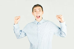 Happy office man say yes Royalty Free Stock Images