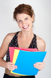 Happy Office Worker with folders. This image shows a Happy Office Worker with folders Stock Images