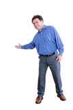 Happy Office Worker Showing a Welcome Gesture Royalty Free Stock Photography