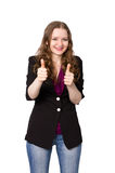 Happy office worker. Office worker shows double thumbs-up Royalty Free Stock Images