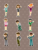 Happy office worker stickers Stock Photo