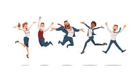 Happy Office Workers Jumping. Vector Illustration. royalty free illustration