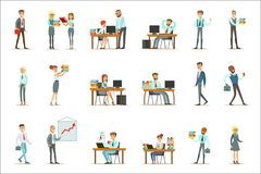 Happy Office Workers And Managers Working In The Office Space On Their Desks And Performing Other Tasks Set Of Stock Image