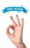 Happy ok fingers with social network sign and icons Stock Photo