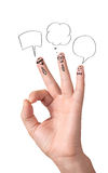 Happy ok fingers with speech bubbles and signs Stock Images