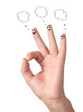 Happy ok fingers with speech bubbles and signs Royalty Free Stock Image