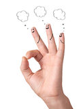 Happy ok fingers with speech bubbles and signs Stock Photos