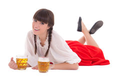Happy oktoberfest girl with cups of beer Royalty Free Stock Photos