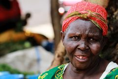 A happy old African woman with crinkle eyes stock photos