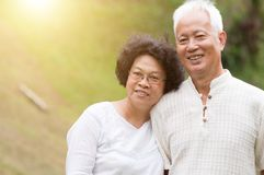 Happy old Asian couple. royalty free stock image