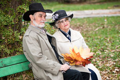 Happy old coule in autumnal park Royalty Free Stock Images