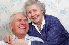 Happy old couple. Portrait of happy old couple laugh until one cries Royalty Free Stock Image