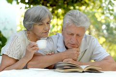 Happy old couple. Beautiful happy old couple with drink and book in summer royalty free stock image