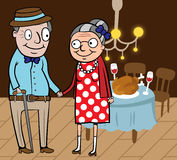 Happy old couple celebrate thanksgiving day. Cartoon vector illustration of happy old couple celebrate thanksgiving day at home Royalty Free Stock Image