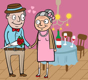 Happy old couple celebrate Valentine. Cartoon vector illustration of happy old couple celebrate valentine day Royalty Free Stock Photos
