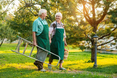 Happy old couple holding hands. Royalty Free Stock Photo