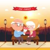 Happy old couple. illustration. Royalty Free Stock Photo