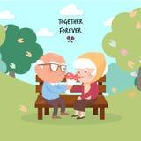 Happy old couple. illustration. Stock Photo