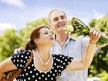 Happy old couple outdoor. Royalty Free Stock Photography