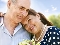 Happy old couple outdoor. Stock Photos