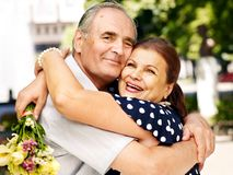 Happy old couple outdoor. Stock Image