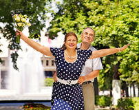 Happy old couple outdoor. Royalty Free Stock Photos