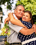 Happy old couple outdoor Stock Image