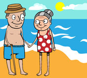 Happy old couple summer holiday by sea Stock Photos