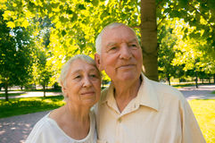 The happy old couple in the summer on a walk Royalty Free Stock Images