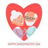 Happy old couple together. Cute Seniors couple in love. grandparents holding hands. Happy grandparents day. Vector Illustration. stock illustration