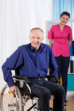 Happy old and disabled man Stock Images